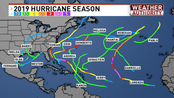 picture of the atlantic ocean showing all of the hurricane paths from 2019