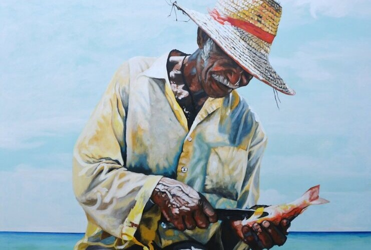painting of a local fisherman cleaning a fish