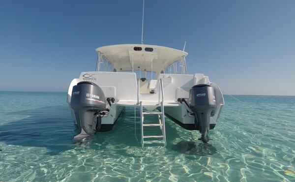 picture of our boat at Stingray City sandbar