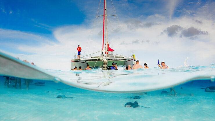 catamaran boat at Stingray City