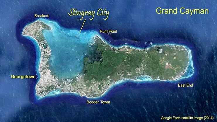picture of a map of Grand Cayman that shows the location of Stingray City