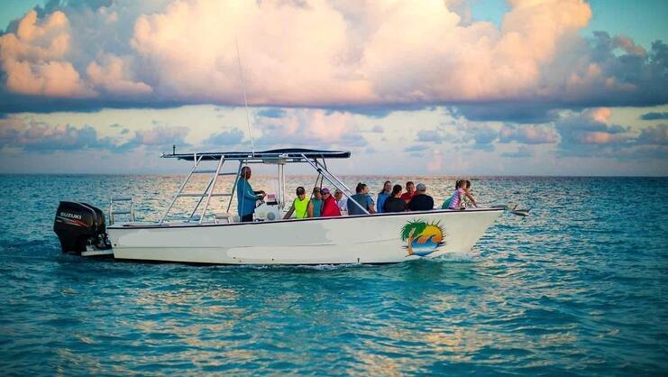 picture of white sand watersport's boat in the sea