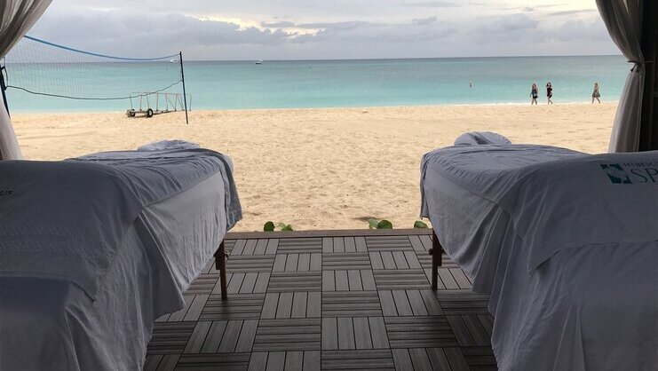 picture of two tables on beach