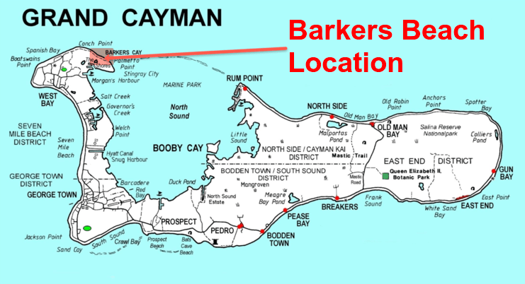 picture showing map of Grand Cayman and location of Barkers Beach