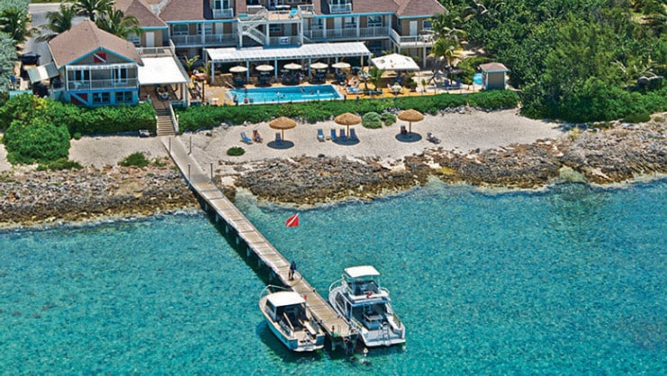 picture of dock and two boats at cobalt coast resort