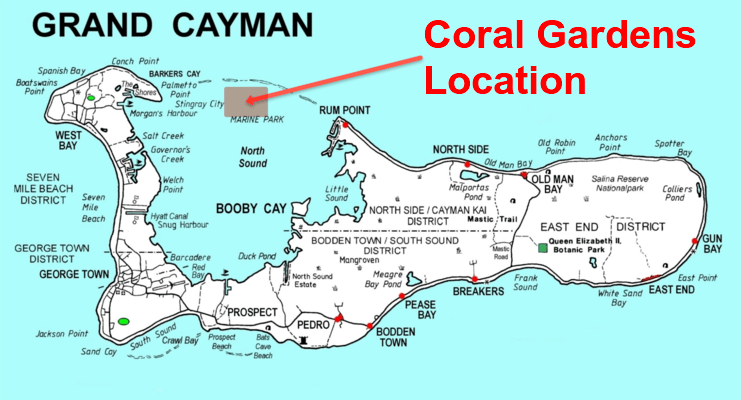 map showing the location of coral gardens in Grand Cayman