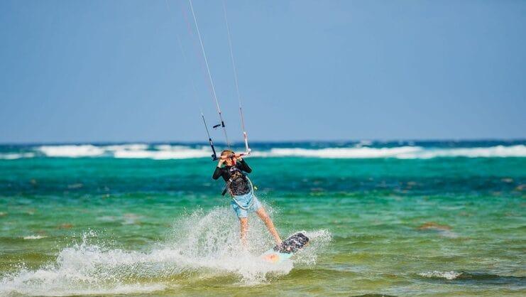picture of boy kitesurfing