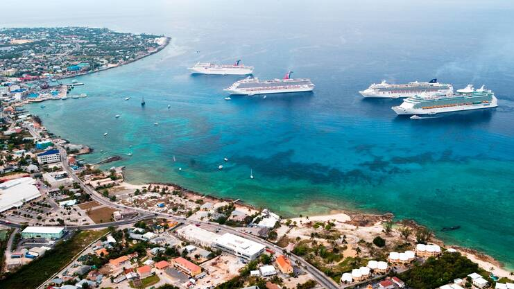 aerial photo showing 4 cruise ships