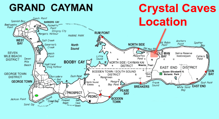 map showing the location of the crystal caves