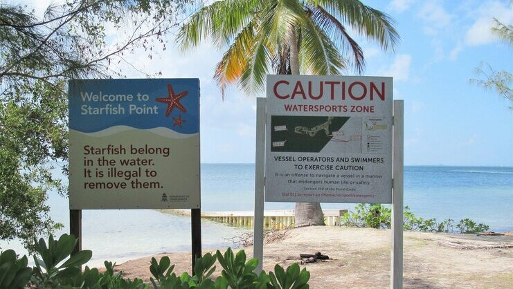 picture of signs at entrance of starfish point