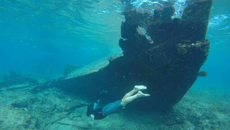 picture of person snorkeling underwater with shipwreck