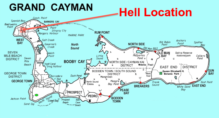 map of grand cayman showing location of hell on west side of grand cayman