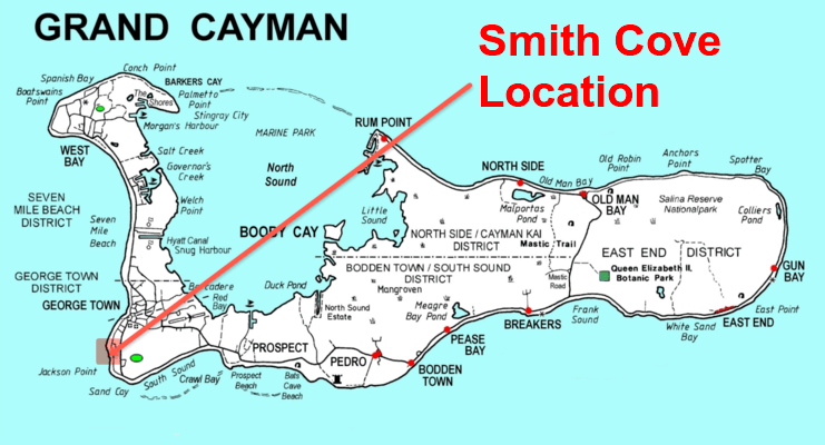 picture of map showing location of smith cove on south-west coast of Grand Cayman