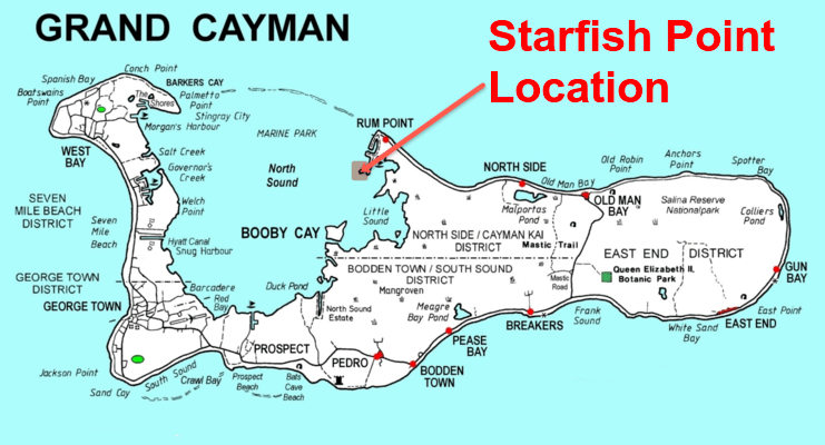 picture of map showing location of starfish point on north side of Grand Cayman