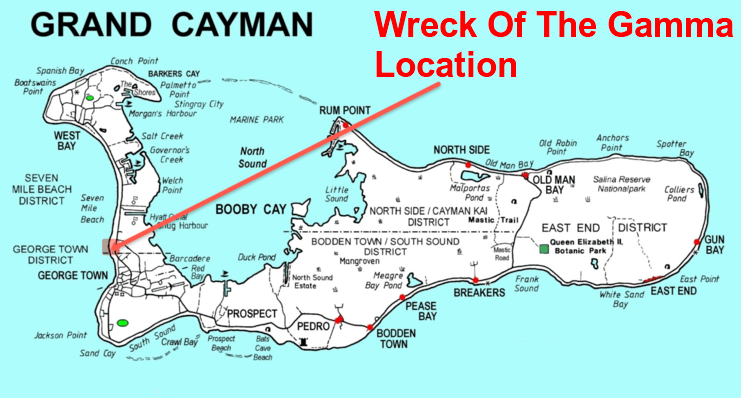 picture of a map showing location of wreck of the gamma on the west side of Grand Cayman