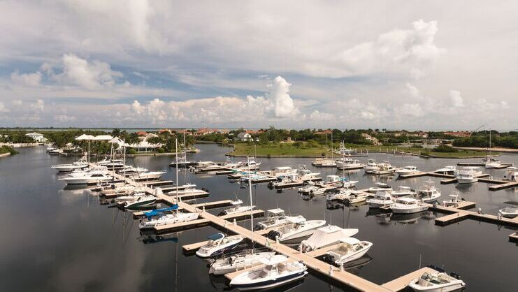 picture of dozens of boats at the cayman islands yacht club
