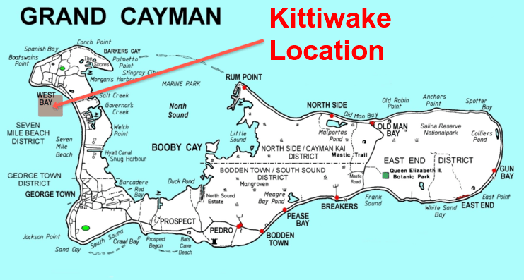 image of map of Grand Cayman showing kittiwake's location on west side of island