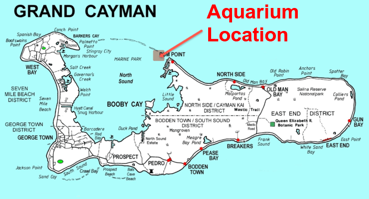 picture of map showing location of aquarium on north side of grand cayman