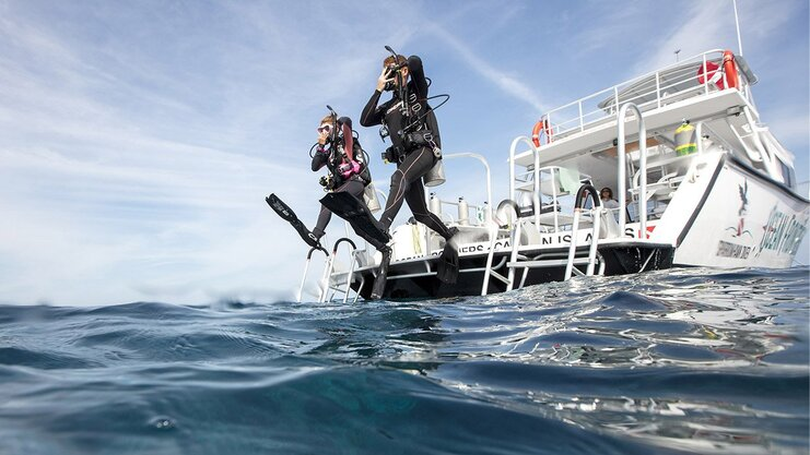 picture of two scuba divers jumping into the water from a boat