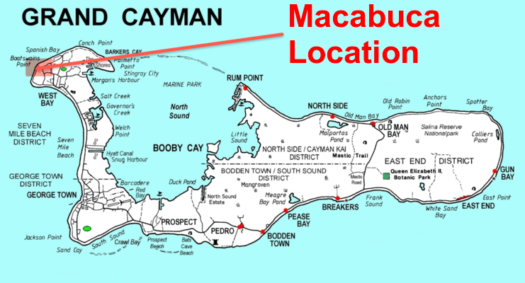 picture of map showing location of macabuca on west side of Grand Cayman