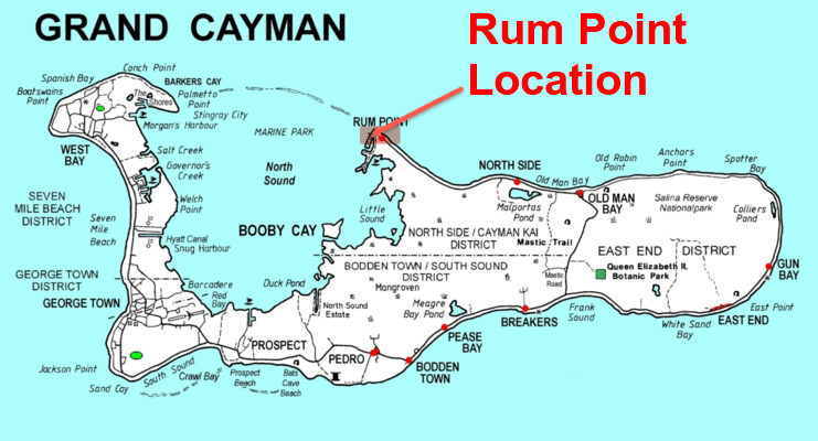 picture of a map showing rum point on the north side of Grand Cayman