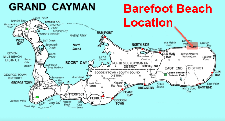 picture of map showing location of barefoot beach on east side of grand cayman