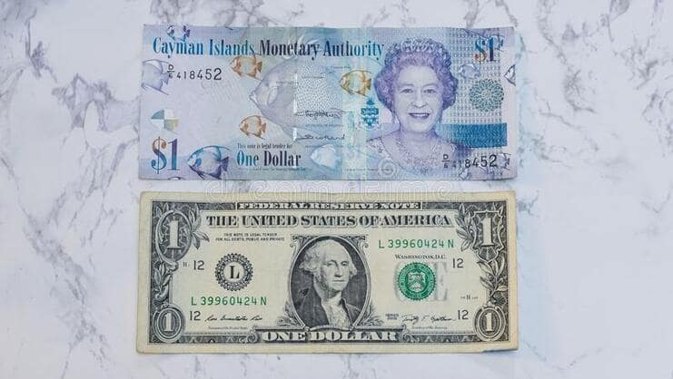 picture of USD and KYD dollar bills together