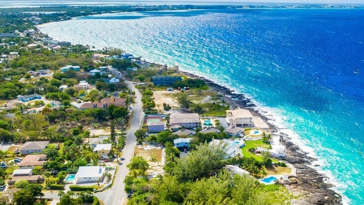 aerial picture of road and sea in grand cayman