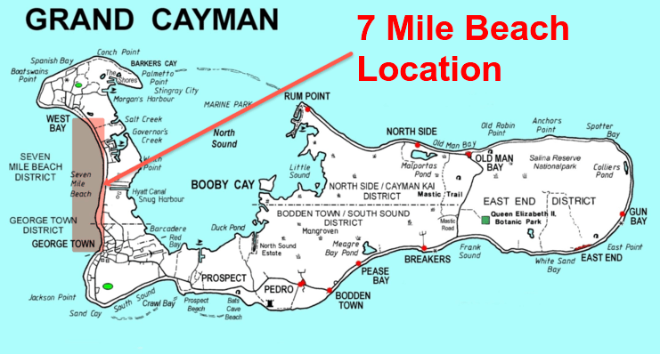 picture of map showing seven mile beach on west side of Grand Cayman